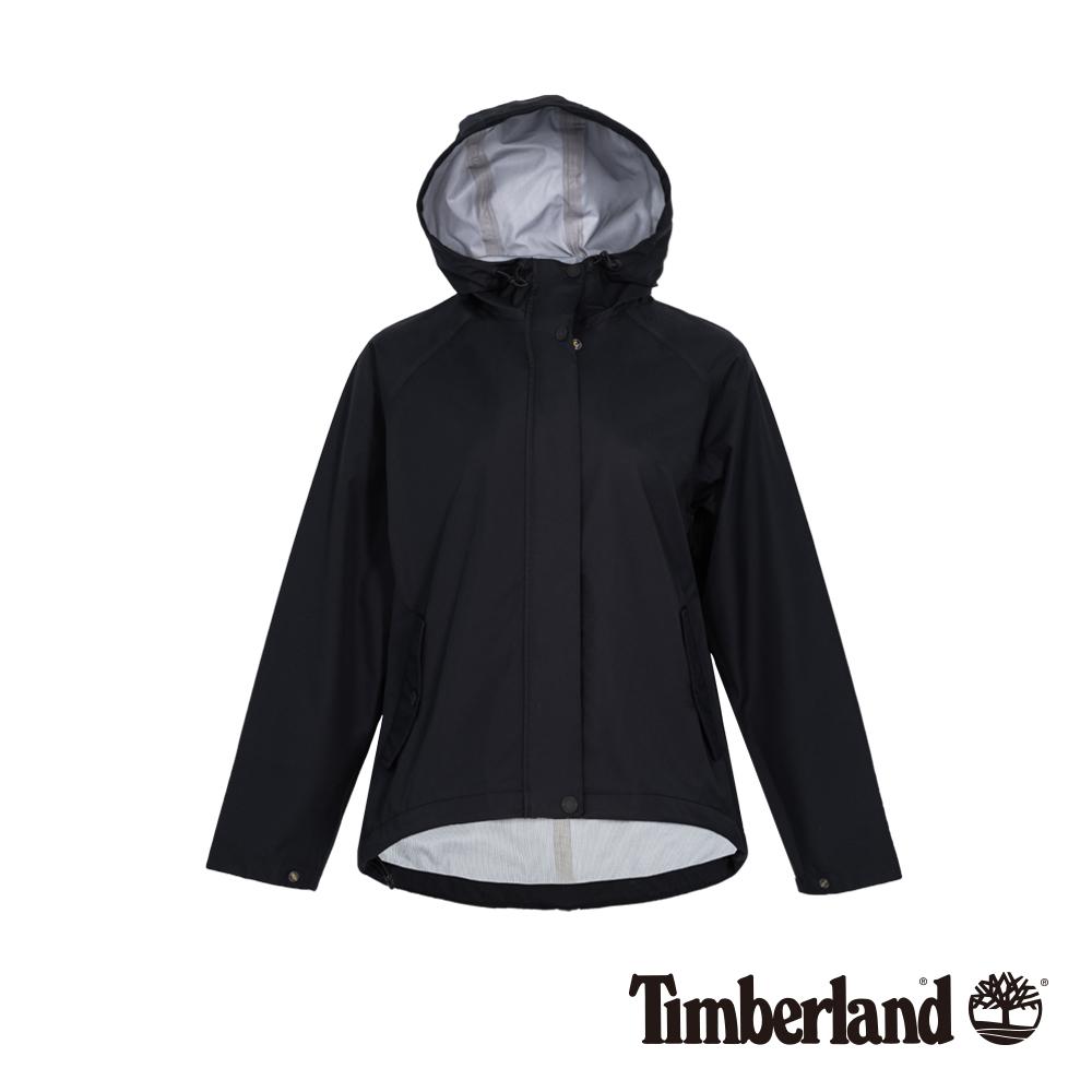 Timberland 女款黑色連帽防水短版派克外套 B3807