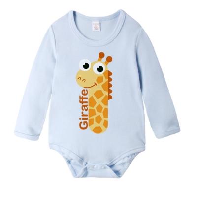 Baby童衣 長袖包屁衣 獨家設計 藍色動物數字爬衣 66350