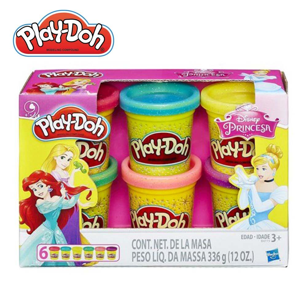 Play-Doh 培樂多-培樂多迪士尼公主閃亮黏土6入
