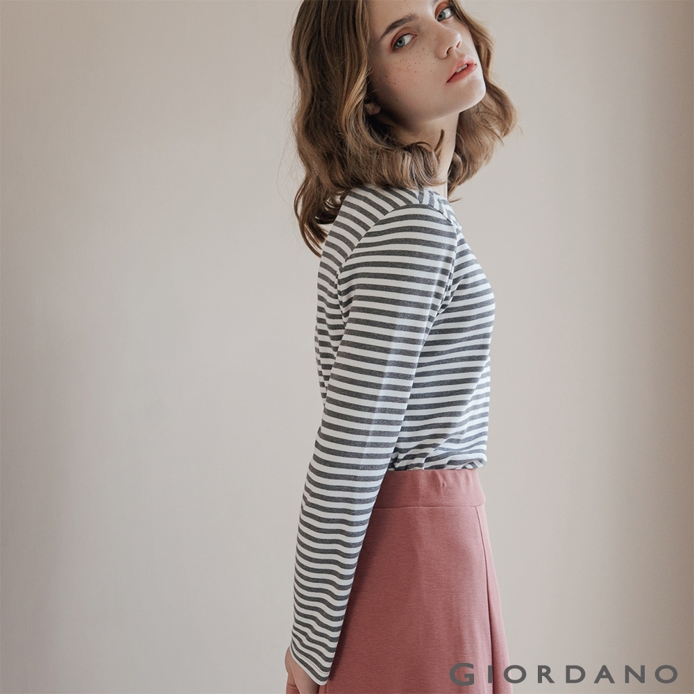 GIORDANO 女裝條紋圓領長袖T恤 -03 深花灰/皎白