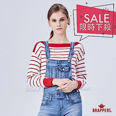BRAPPERS 女款 橫條配色長袖線衫-紅白條