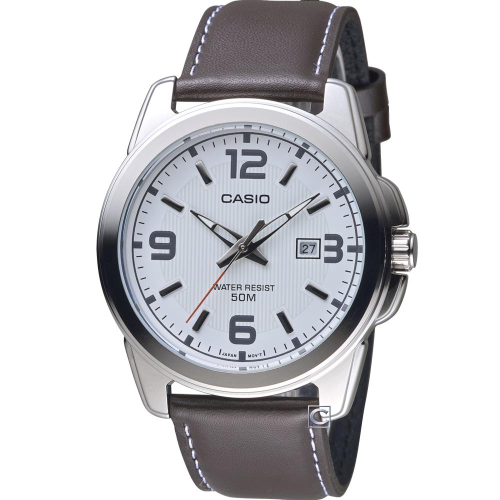 CASIO簡約經典時尚皮帶腕錶(MTP-1314L-7A)白/43mm