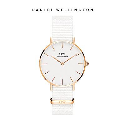DW 手錶 官方旗艦店 32mm玫瑰金框 Petite 純淨白織紋手錶