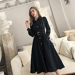 DABI 韓國風名媛收腰紐扣襯衣領長袖洋裝