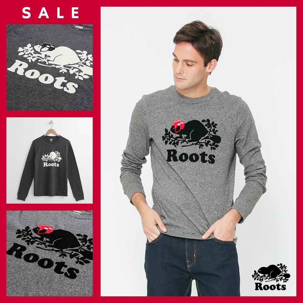 [時時樂限定]男裝Roots 庫柏曲棍球長袖T恤-灰/黑