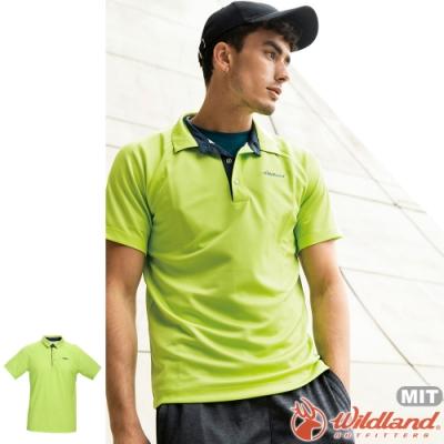 Wildland 荒野 0A71608-40芥墨黃 男涼感本布領短袖POLO衫