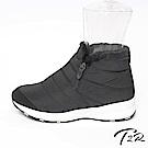 【T2R】溫暖內鋪毛隱形增高質感短靴-黑色