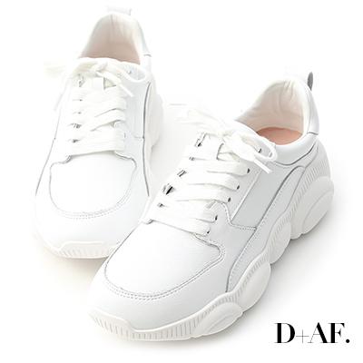 D+AF 人氣潮款.小熊鞋底真皮老爹鞋*白