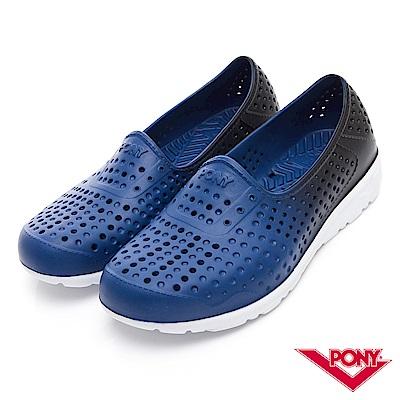 【PONY】TROPIC 輕量舒適GOGO鞋 涼鞋 拖鞋-中性-藍黑