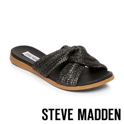 STEVE MADDEN-DOT 隨性質感綁結拖鞋-黑色
