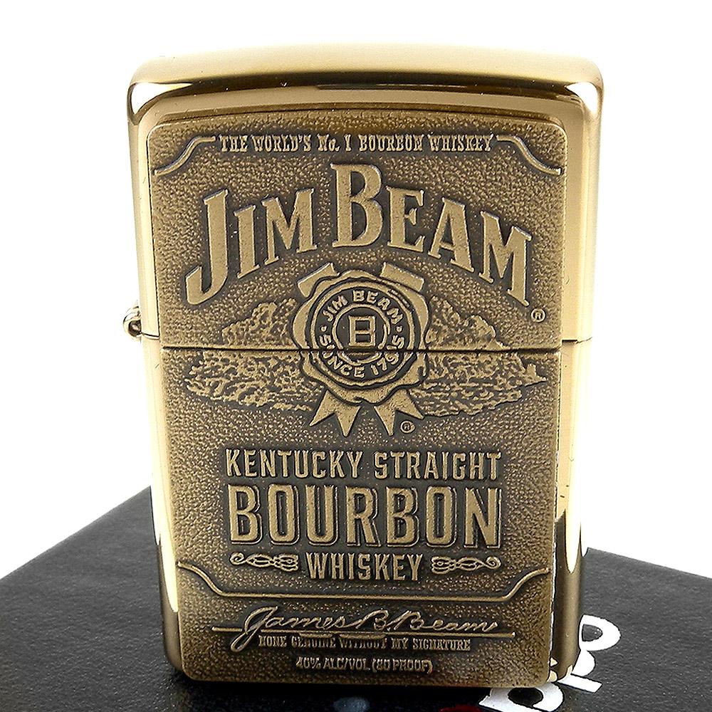 ZIPPO 美系~JIM BEAM金賓波本威士忌圖案貼飾打火機