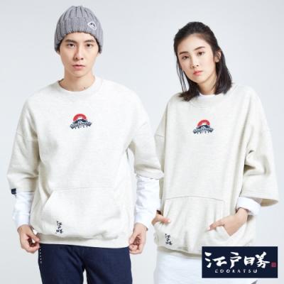 EDO KATSU江戶勝 口袋刷毛五分袖寬版T恤-中性-米白色