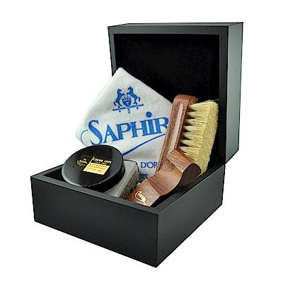 【SAPHIR莎菲爾-金質】錶盒式皮革鞋蠟禮盒