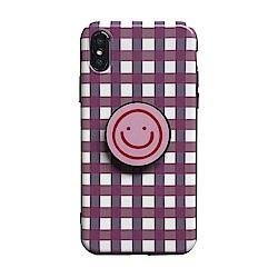 【TOYSELECT】iPhone 7/8 Plus 格紋笑臉氣囊支架手機殼:粉白