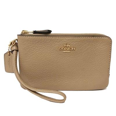 COACH L型雙層拉鍊手拿包零錢包(全皮-膚色)