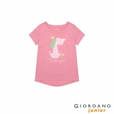 GIORDANO 童裝純棉手繪塗鴉印花T恤-53 薔薇粉紅