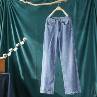 素色棉質毛邊牛仔褲直筒寬鬆寬管老爹褲-設計所在