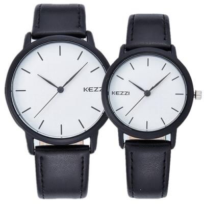 Mirabelle半圓點點 簡約素面皮革男女對錶 黑帶白面42+30mm