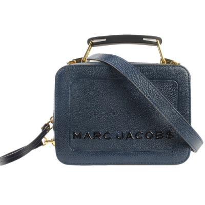 MARC JACOBS 經典THE BOX 20雙拉鍊手提斜背兩用包-小/深藍色