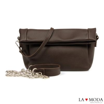 La Moda 極佳觸感柔軟可翻折多背法肩背斜背鍊帶包(咖)