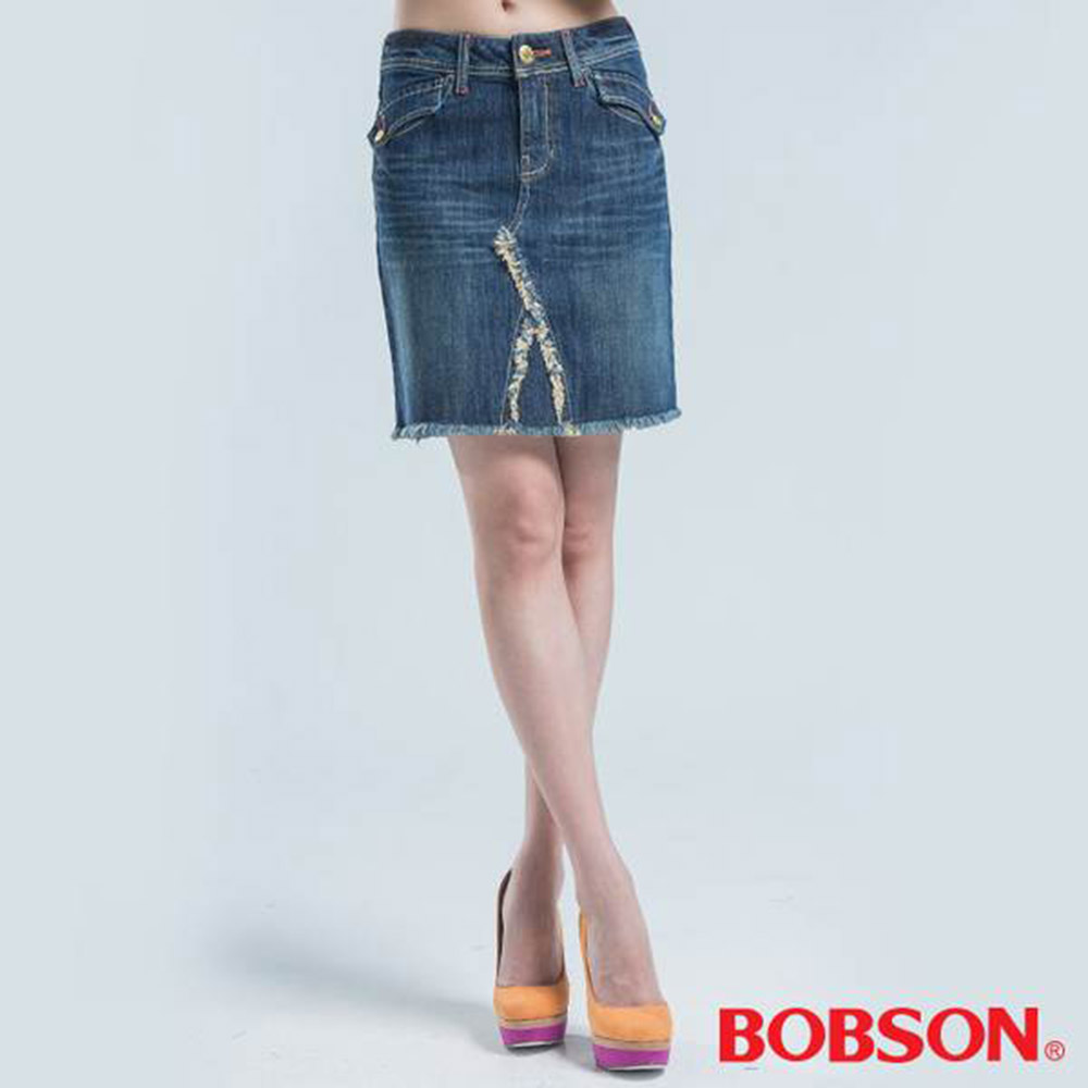 BOBSON 後袋蓋刺繡短裙-藍色