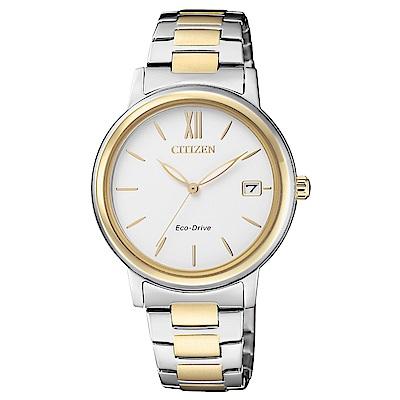 CITIZEN 經典不凡雙色調光動能石英女錶(FE6094-84A)-白/33mm