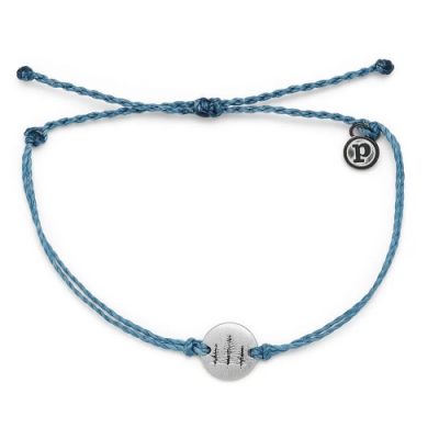 Pura Vida 美國手工 WANDER銀色漫遊 灰藍色蠟線可調式衝浪手環