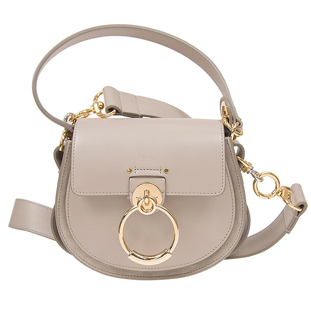 Chloe' TESS 系列 小牛皮釦環設計肩背/斜背兩用包(小款/暖灰色)