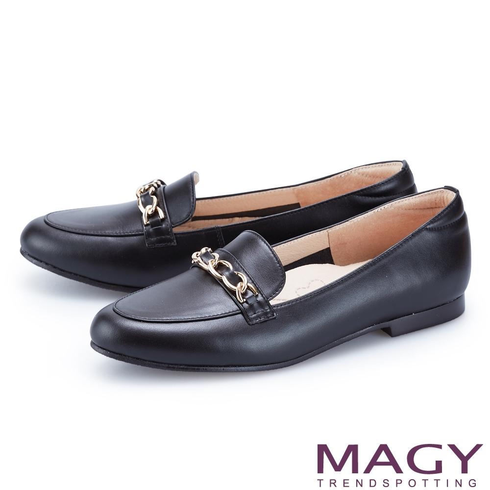 MAGY 嚴選牛皮金屬鍊樂福 女 平底鞋 黑色