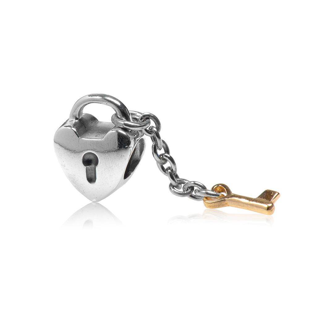 Pandora 潘朵拉 心鎖造型K金鑰匙 純銀墜飾 串珠