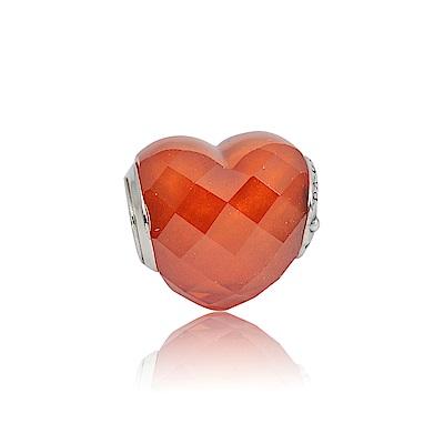 Pandora 潘朵拉 魅力愛心橘色水晶 純銀墜飾 串珠