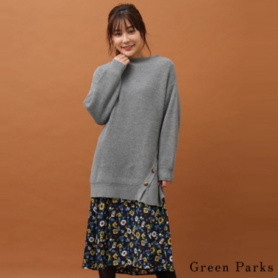 Green Parks 【SET ITEM】花柄細肩帶連身裙+斜扣寬鬆針織長版上衣