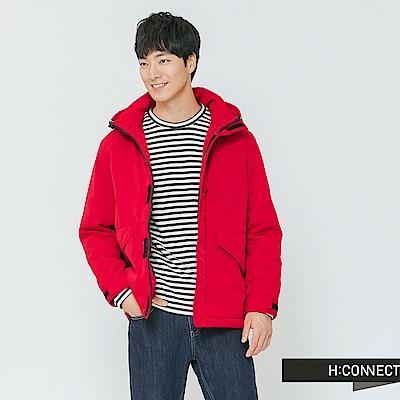 H:CONNECT 韓國品牌 男裝-標語撞色拼接鋪棉外套-紅