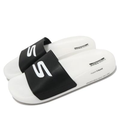 Skechers 拖鞋 Hyper Slide 運動後 男鞋 避震 緩衝 皮革鞋面 固特異橡膠大底 黑 白 220230BKW
