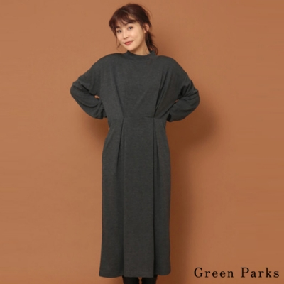 Green Parks 高雅素面打褶設計連身洋裝