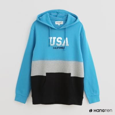Hang Ten - 男裝 - 撞色拼接字母印花長袖帽T - 藍