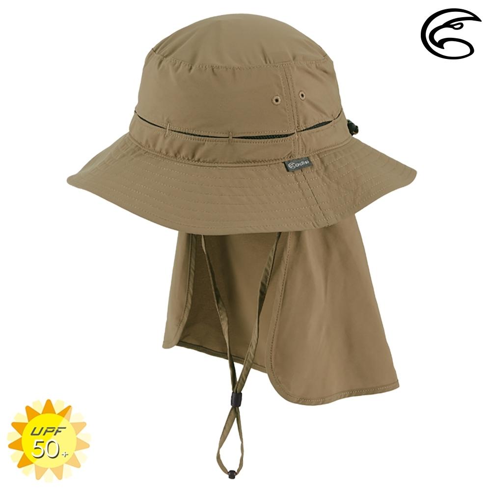 ADISI 抗UV透氣快乾撥水收納護頸兩用盤帽 AH21005 (M-L) / 深卡其
