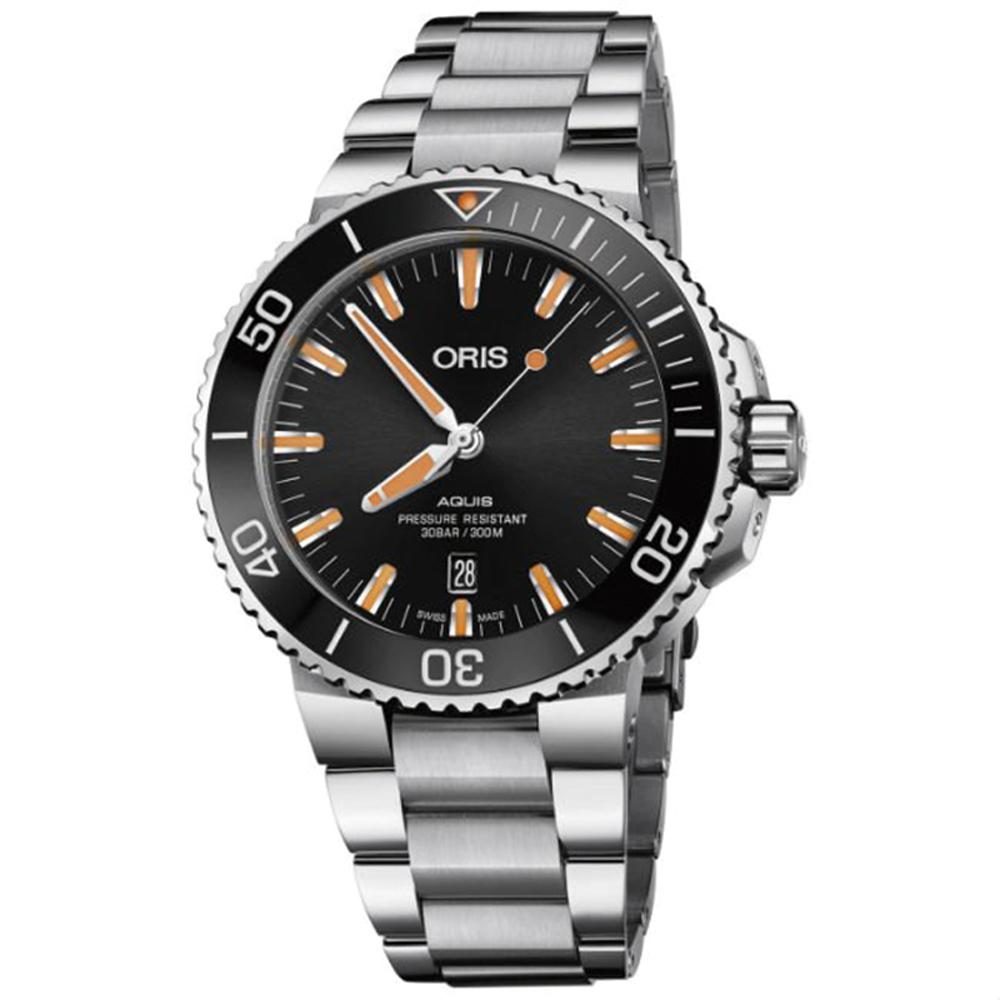 ORIS 豪利時 Aquis 時間之海300米潛水黑x橘機械錶x43.5mm