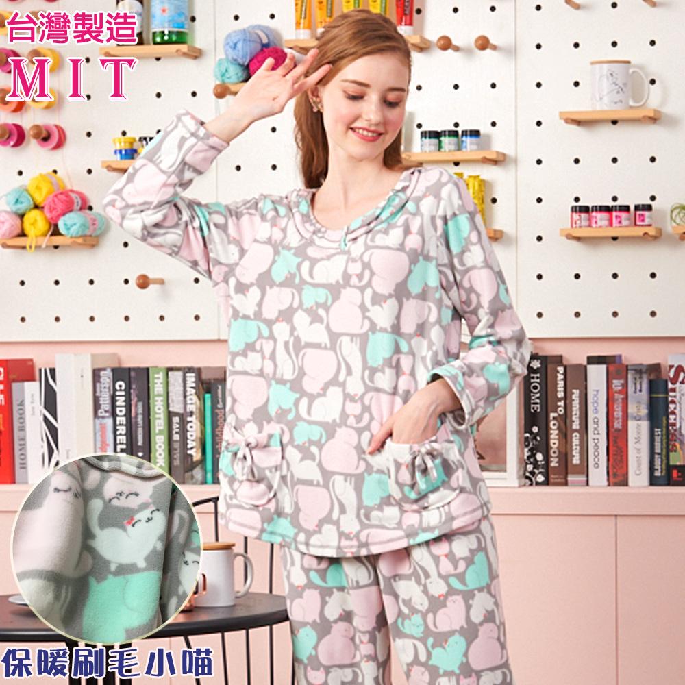 睡衣 慵懶小貓 超細刷毛長袖成套睡衣居家服-台灣製造(R77219-6)蕾妮塔塔
