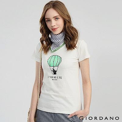 GIORDANO 女裝可愛植物印花短袖T恤-41 皎雪