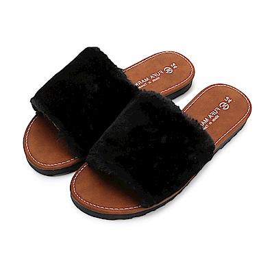 BuyGlasses 蓬鬆都是毛暖暖拖鞋-黑