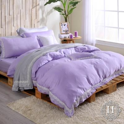 HOYA H Series潘朵拉紫 加大五件式天絲蕾絲被套床包組