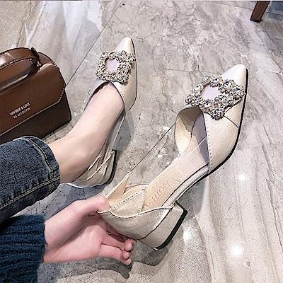 KEITH-WILL時尚鞋館 破盤價時尚歐美款低跟鞋-米色