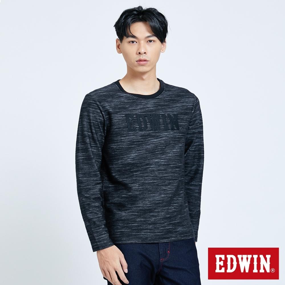 EDWIN EFS 竹節LOGO 薄長袖T恤-男-黑色