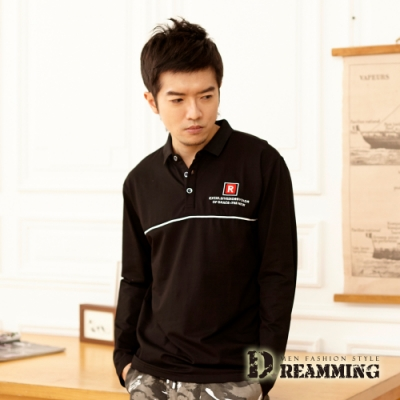 Dreamming 方塊R字萊卡彈力長袖POLO衫-共二色