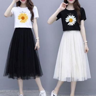 【韓國K.W.】(預購) 話題單品雛菊網紗套裝裙