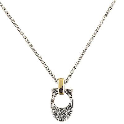 COACH 經典C字LOGO水鑽鑲飾金屬鎖骨項鍊(銀x金)