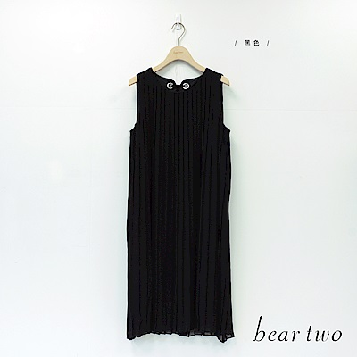 beartwo 百褶雪紡後頸綁帶洋裝(黑色)