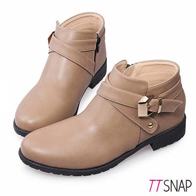 TTSNAP短靴 MIT個性交叉釦帶低跟踝靴 駝