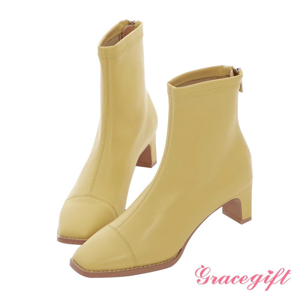 Grace gift X MEG-聯名方頭沿條高跟短靴 芥末黃